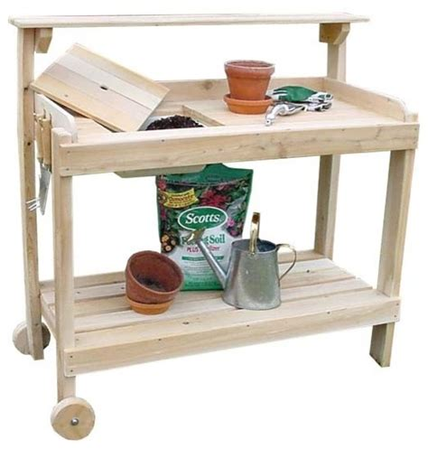 potting bench on wheels white cedar potting bench w wheels contemporary potting benches