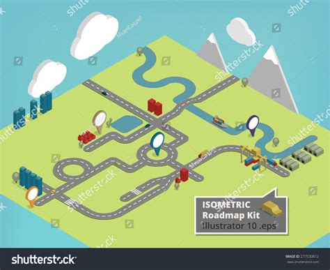 create your own map create your own isometric road map stock vector 277530812