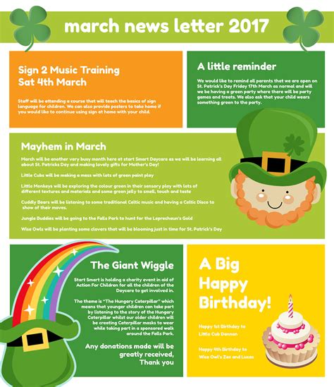 march newsletter template free march 2017 newsletter start smart daycare nursery of
