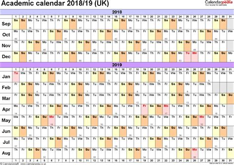 2018 academic calendar template academic calendars 2018 2019 as free printable excel templates