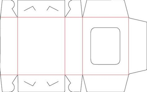 Free 3d Diy Box With Window Svg Template With Red Score Lines No Glue All In One Box Cricut Silhouette Box Template