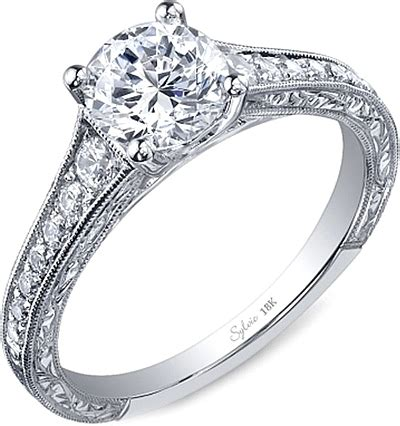 engraved engagement rings sylvie engraved engagement ring sy886