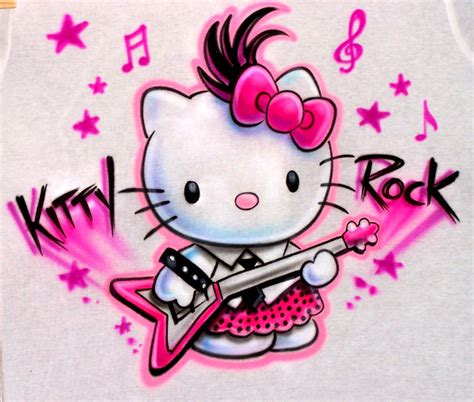 hello kitty rock wallpaper airbrushed hello kitty rock t shirt custom made