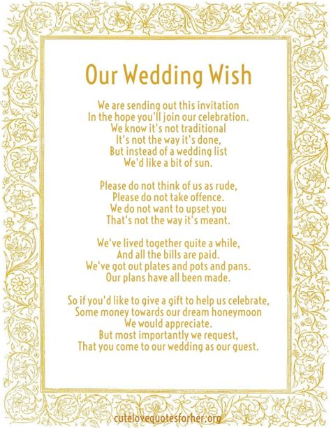 Wedding Invitation Poems by Honeymoon Poems To And To Asking For Money