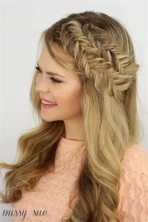 how to do a headband braid step by step double fishtail headband braids