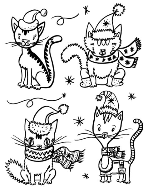 free christmas cat coloring page
