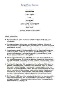 Witness Statement Template by Witness Statement Template 12 Free Documents