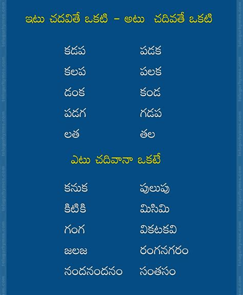 Offer Letter Meaning In Telugu Telugu Words Read From Both Sides And Telugu Palindroms Words Learn Telugu Articles
