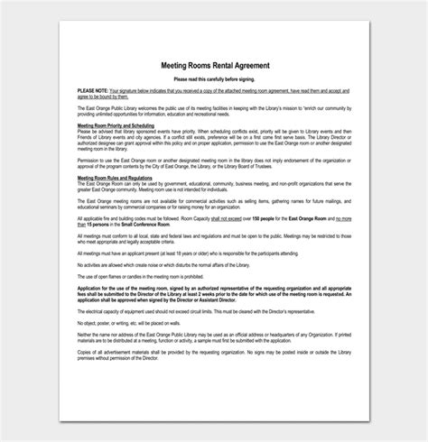 Room Rental Agreement 7 Sle Docs For Word Pdf Hotel Meeting Room Contract Template