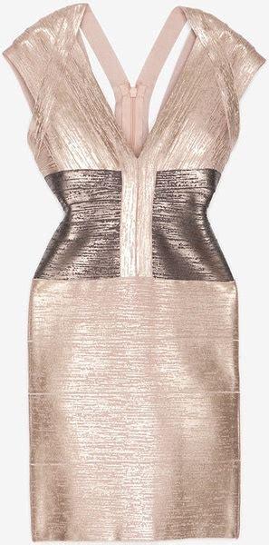 Premium Herve Leger Vneck Metallic Con Bandage 1 58 best con dresses images on bandage