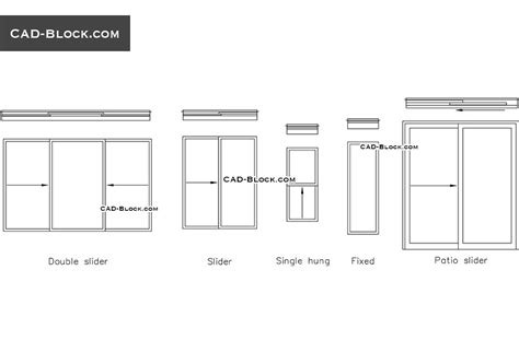 window section cad block slider window cad block free download