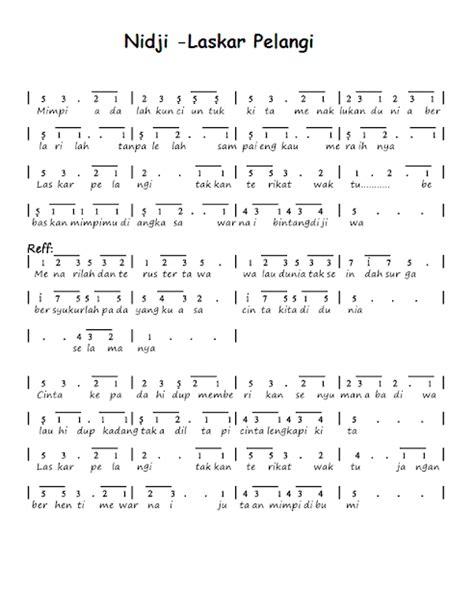full download lagu anak anak judul laskar pelangi cover not angka lagu laskar pelangi nidji not angka lagu