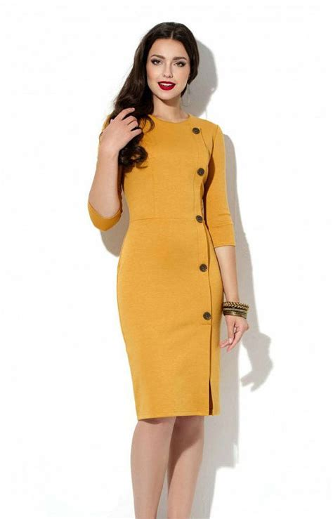 office fashion ladies pinterest mustard office dress autumn spring jersey dress business
