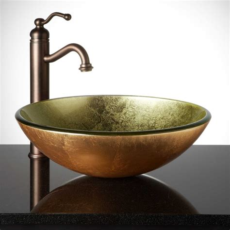 Glass Bathroom Sink Metallic Gold Glass Vessel Sink Bathroom