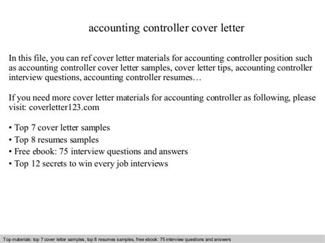 Cover Letter Accounting Controller Accounting Controller Cover Letter