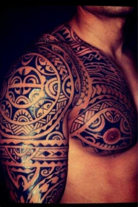 tribal brother tattoos maori chest sleeve polynesian maori
