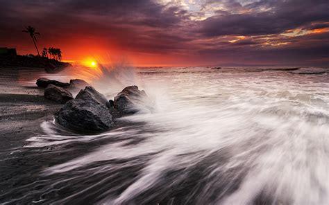 wallpaper manyar beach sunset dusk bali indonesia