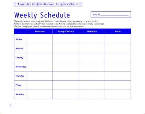 weekly workout schedule template calendar template 2016
