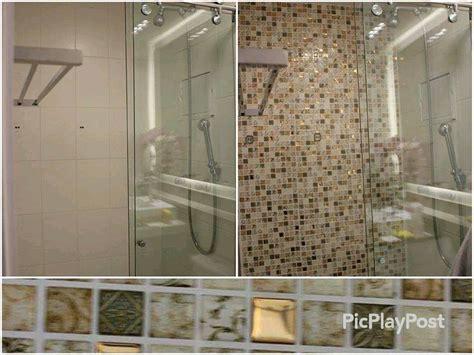 azulejo que imita pastilha de vidro antes e depois do banheiro pastilhas adesivas resinadas