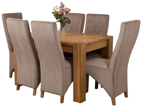 solid oak dining table 6 chairs kuba oak dining set 125cm 6 grey chairs