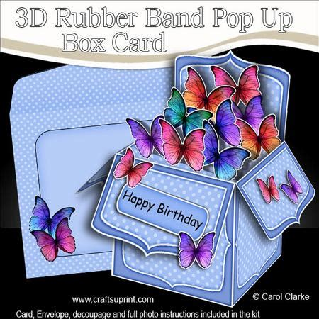 rubber st card templates 3d fluttery butterflies rubber band pop up box card
