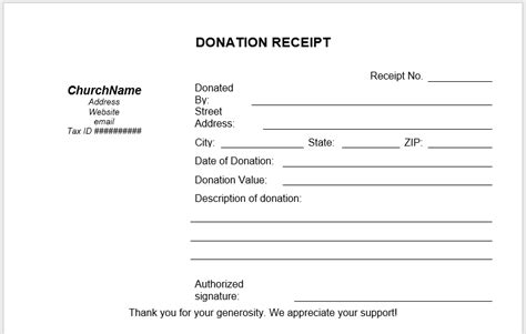 donation receipt templates  ms word templates