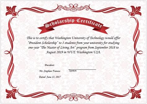 scholarship award certificate template free scholarship award certificate template word excel
