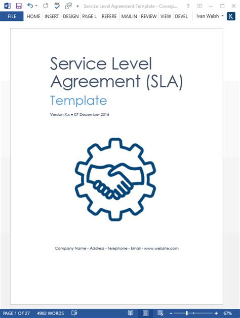 service level agreement sla template ms wordexcel templates forms checklists  ms
