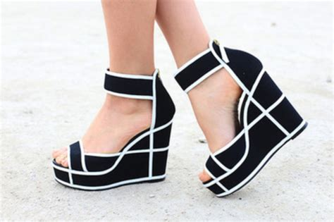 black and white shoes high heels shoes wedges heels black and white black and white
