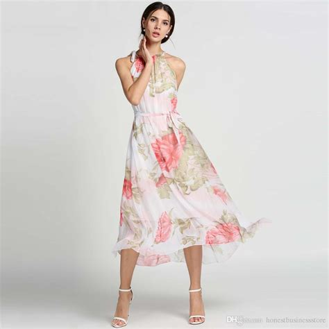 Halter Maxi Sundress 2017 new chiffon maxi dresses halter