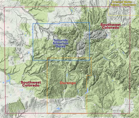 colorado map durango trails colorado recreation topo map latitude