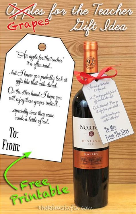 printable retirement gift tags give a teacher what they really need wine free