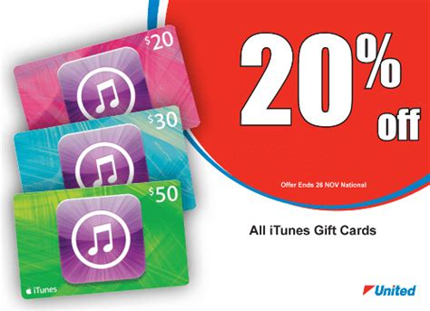 Gift Cards 20 Off - expired 20 off itunes gift cards at united petrol stations until november 26 gift