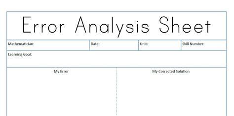 sheet types math error analysis sheet types of errors