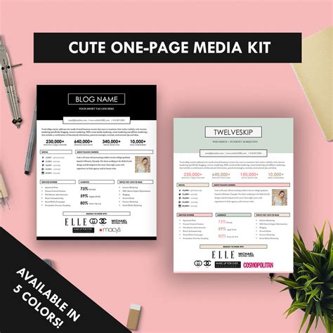 cute one page media kit template press kit pastel black