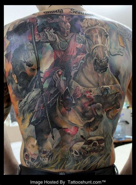 tattoo 3d horse warrior and horse 3d tattoo on full back