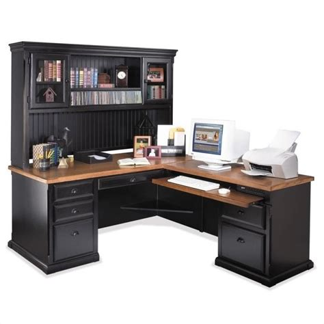 Office Desks Ireland Kathy Ireland Home By Martin Southton 68 Quot L Shape Wood Executive Desk In Oynx Black So684r