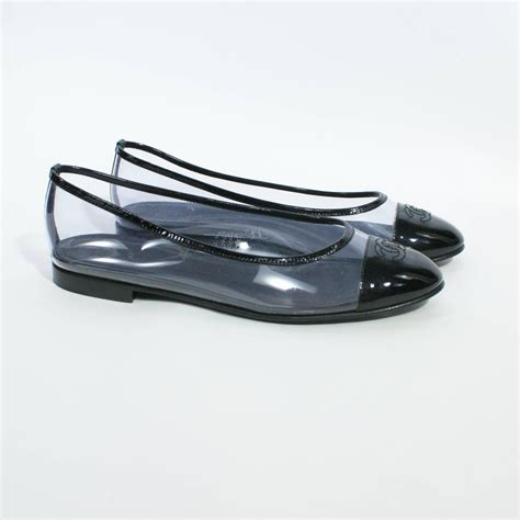 clear flats shoes chanel clear cap toe logo flats at 1stdibs