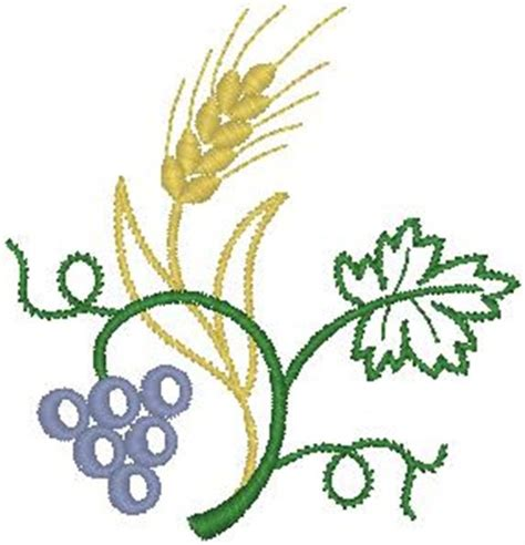 embroidery design wheat hirsch embroidery design wheat and grapes 3 03 inches h x