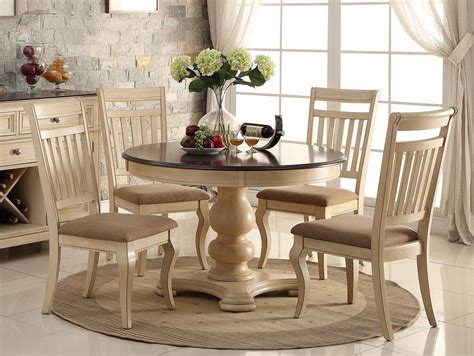5pc dining room set with round table in classic cherry new 5pc antique white wash cherry finish wood round