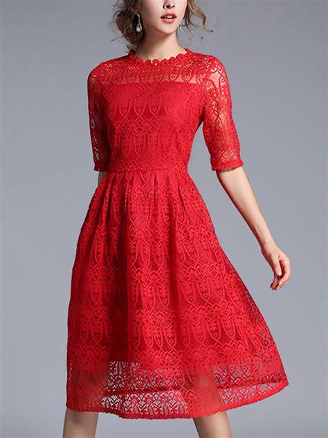 Sleeve A Line Lace Midi Dress a line sheer sleeve lace midi dress metisu