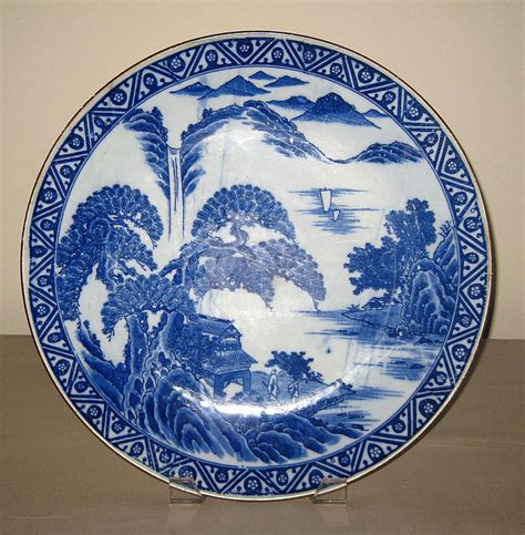 Porcelain Plate 19th c blue white porcelain plate from