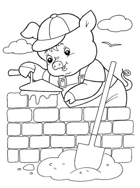 free printable coloring pages 3 little pigs three for