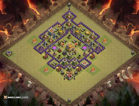 layout coc paling kuat th 7 war base th 7 clash of clans paling bagus jagat clash of