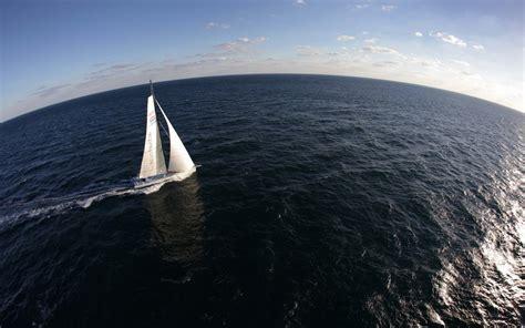 sailing ship sea yachts fisheye lens horizon clouds