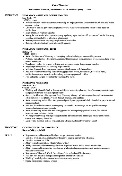 Pharmacy Assistant Resume by Pharmacy Assistant Resume Sles Velvet