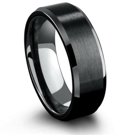 8mm black tungsten brushed ring with channel grooves