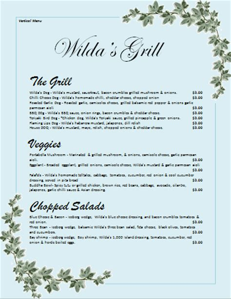menu layout microsoft word menu templates archives microsoft word templates