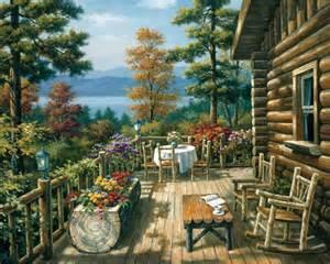 sung log cabin porch painting anysize 50 log