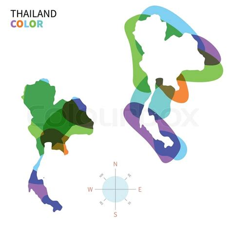 vector map thailand abstract vector color map of thailand with transparent